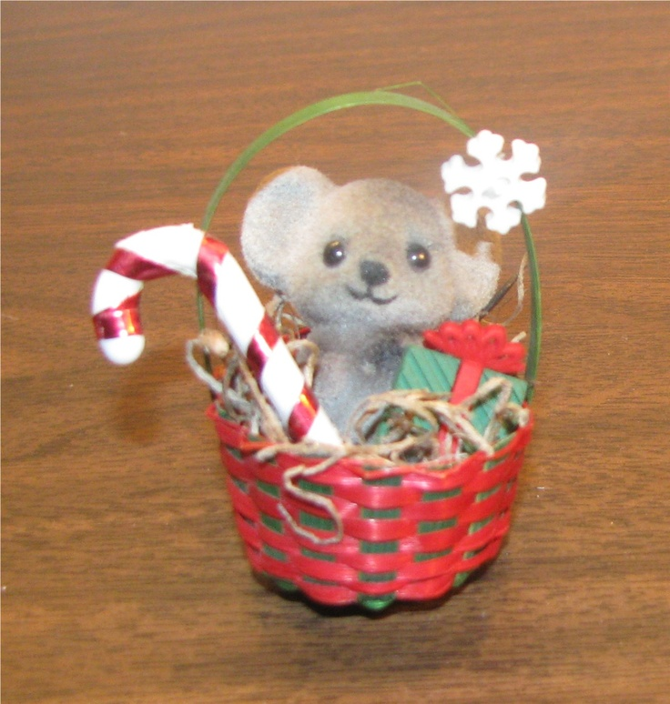 Original vicki mouse in a red basket christmas ornaments i have m