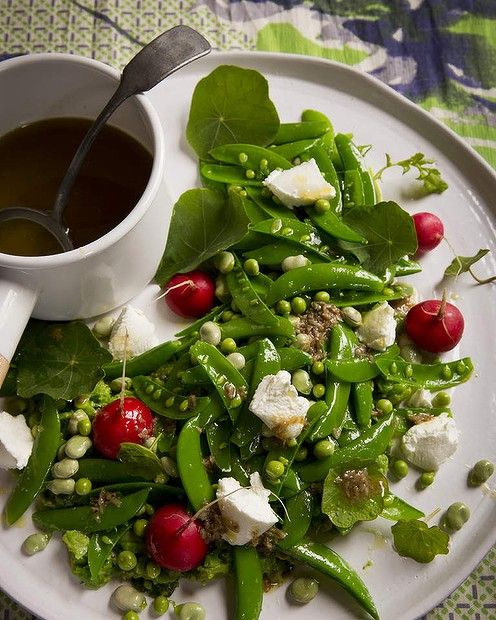 ... to this spring pea and broad bean salad with bagna cauda dressing
