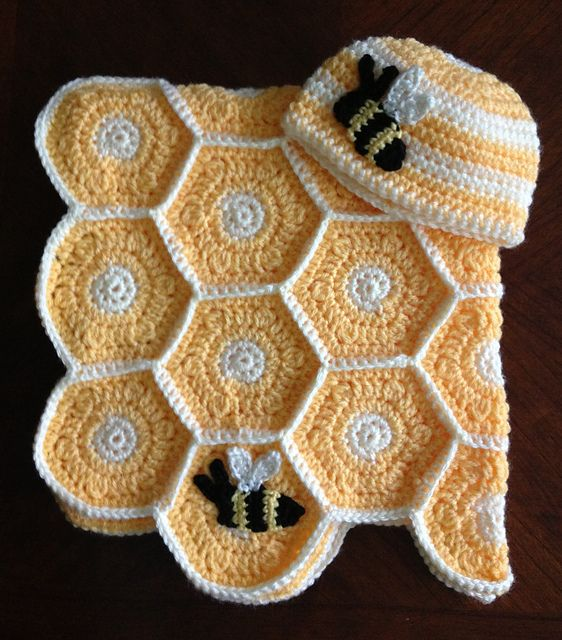 Crochet Patterns Baby Bee Yarn : Sweet As Honey Baby Blanket and Hat Set with Bee Applique ...