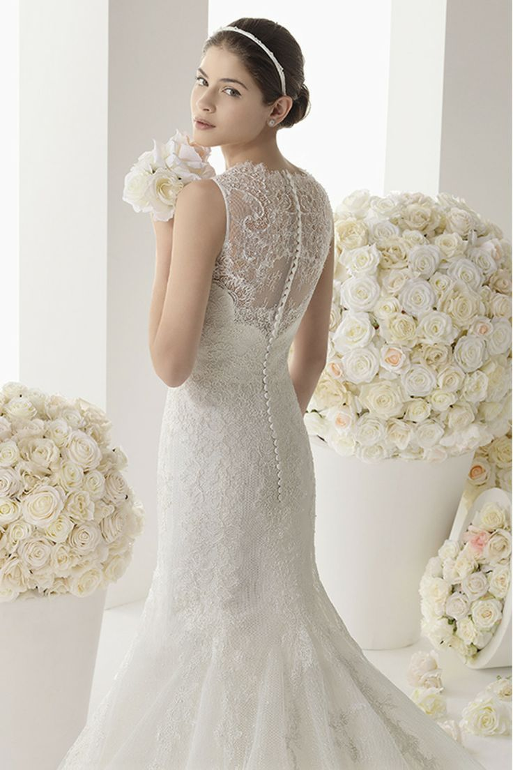 2014 High Neck Wedding Dress Sheath/Column Pick Up Cathedral Train With Applique