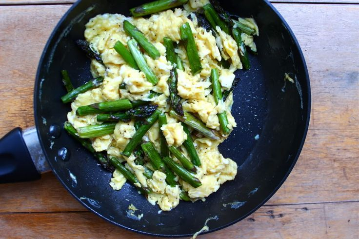 Garlic Scape Pesto Scrambled Eggs With Asparagus And Mushrooms Recipes ...
