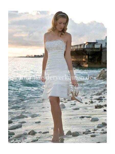 Wadenlang Strand Hochzeitskleid kurz  Noivas  Pinterest