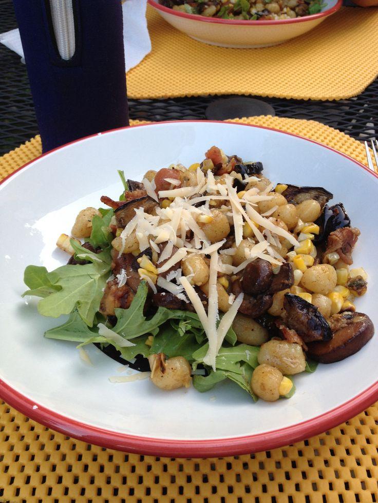 Gnocci with grilled corn, zucchini, and eggplant, sautéed mushrooms ...