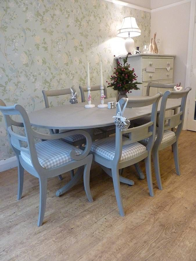 Painted vintage dining table and chairs set for Painted dining room furniture