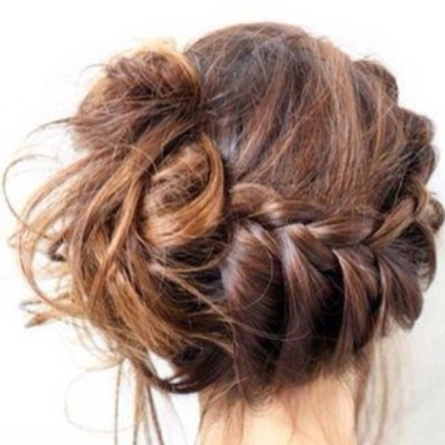 cute mixed girl hairstyles : really cute messy braided bun Hairstyles Pinterest