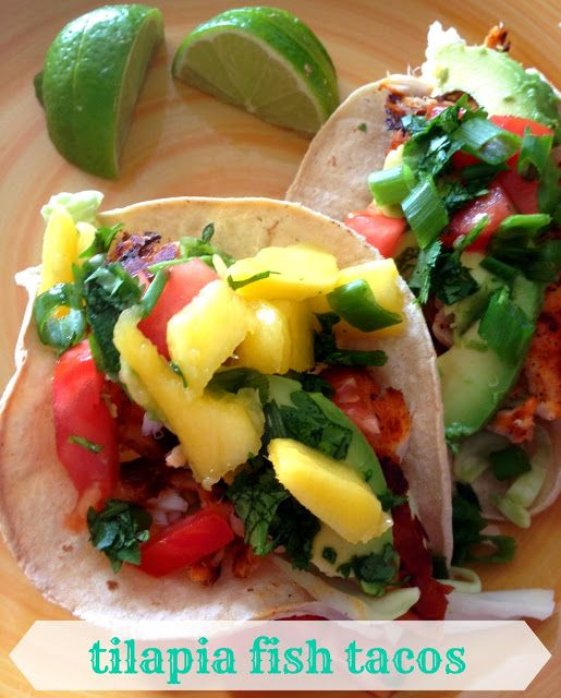 Tilapia Fish Tacos - mmm, the mango looks delicious with it!