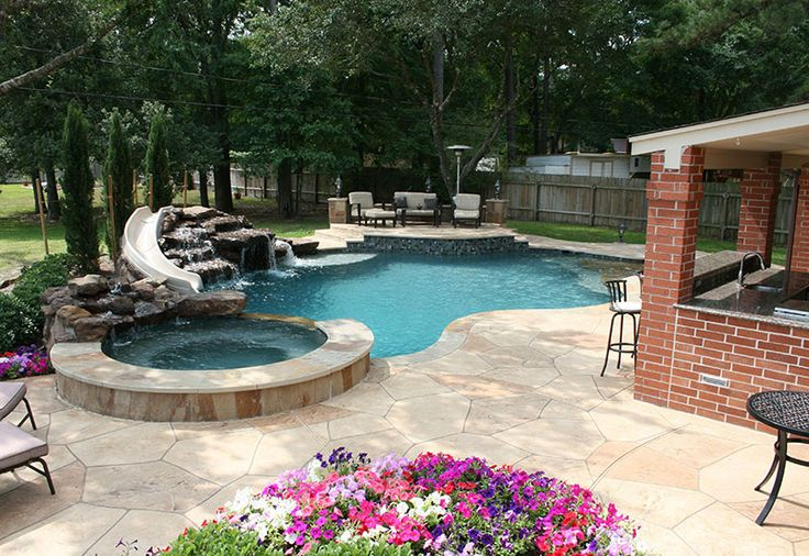 Backyard swimming pools with slides for the pool for Garden swimming pool with slide