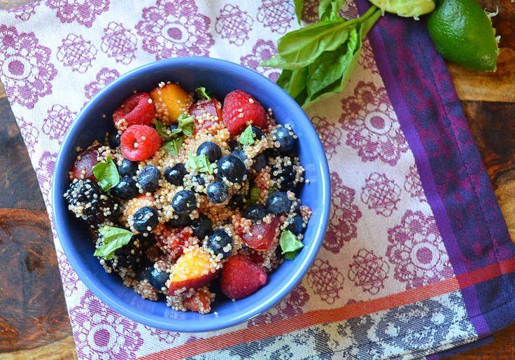 Quinoa fruit salad (or any other grain). Interesting idea.
