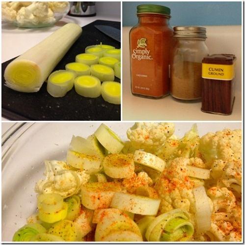 Roasted Cauliflower with Leeks and Arugula Pesto