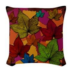 On black woven throw pillow gt autumn leaves on black gt design dazzle