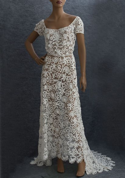 Irish crochet lace wedding dress dresses for Crochet lace wedding dress pattern