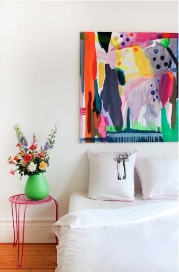 What lasts longer than a colorful bouquet of fresh flowers? A giant piece of abstract art #contrast