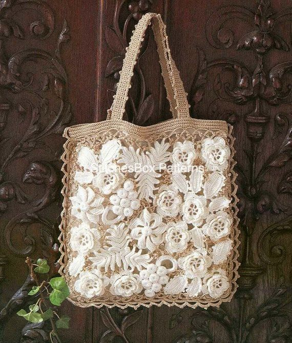 Irish Crochet Bag Free Pattern : Irish Crochet Lace Flowers Handbag Bag PDF Pattern - Free ...