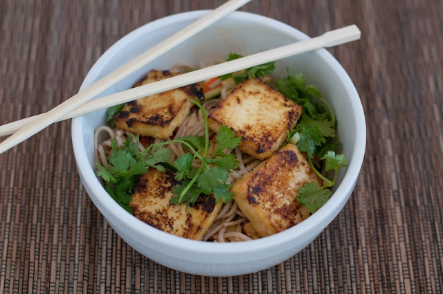 Mama Cooks: cold soba noodles with miso tofu and summer vegetables