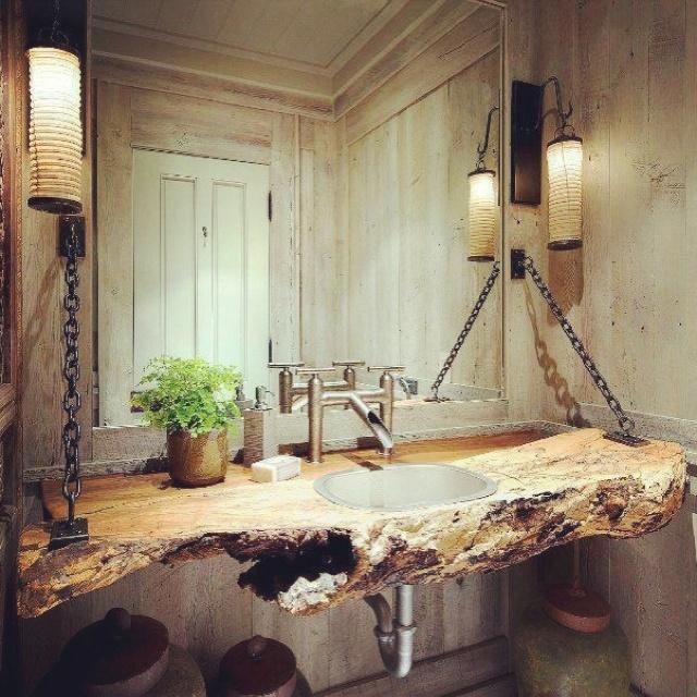 lavamanos de madera casa de montanas pinterest