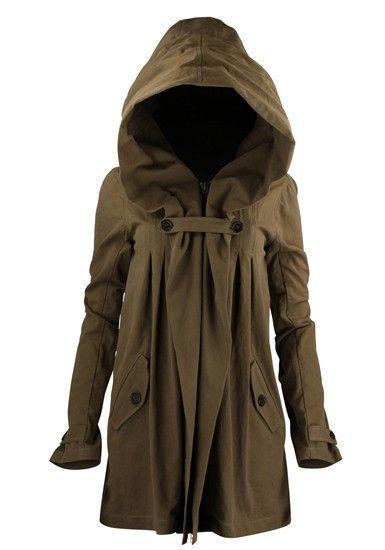 gathered hoodie coat