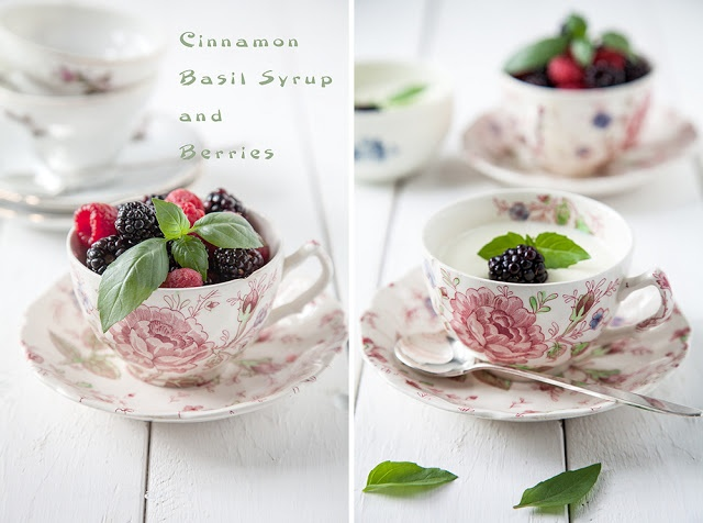 Cinnamon-basil panna cotta with berries #pannacotta #cinnamon #basil