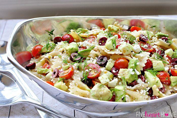 Tomato Cucumber Pasta Salad with Avocado, Kalamata Olives, Feta, and ...