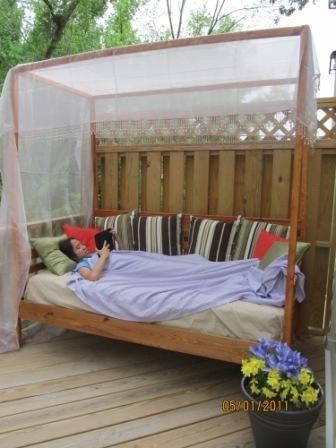 Outdoor pine canopy daybed lake pinterest