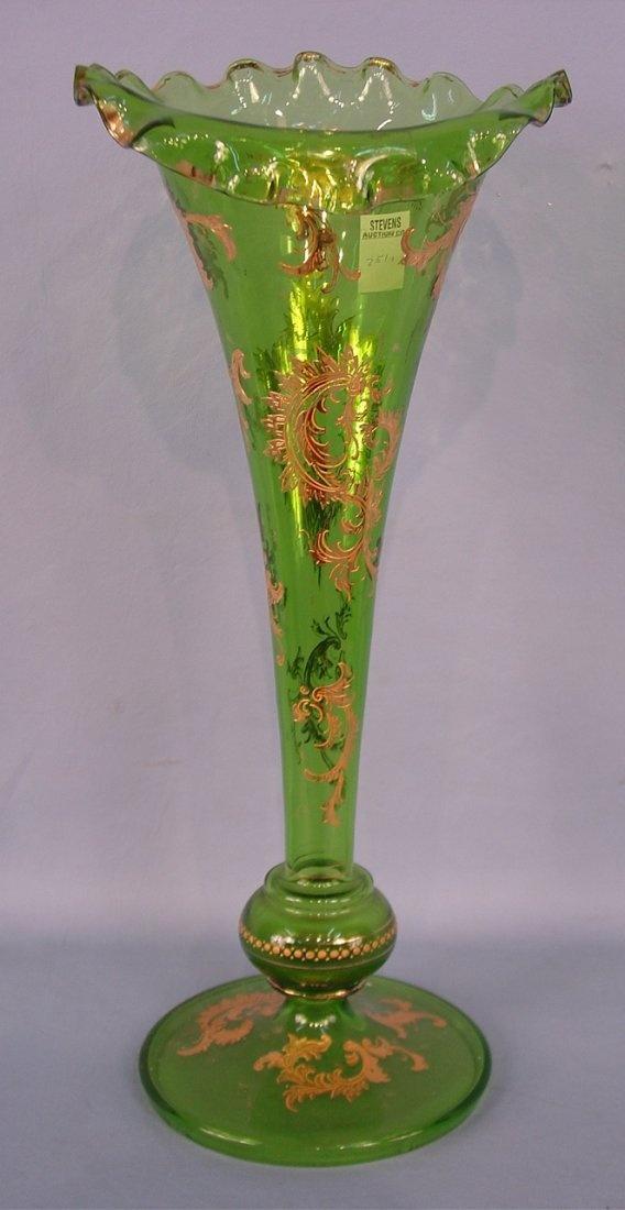 Высокий зеленый викторианской художественного стекла Ваза, труба стиль рифленая c.1890