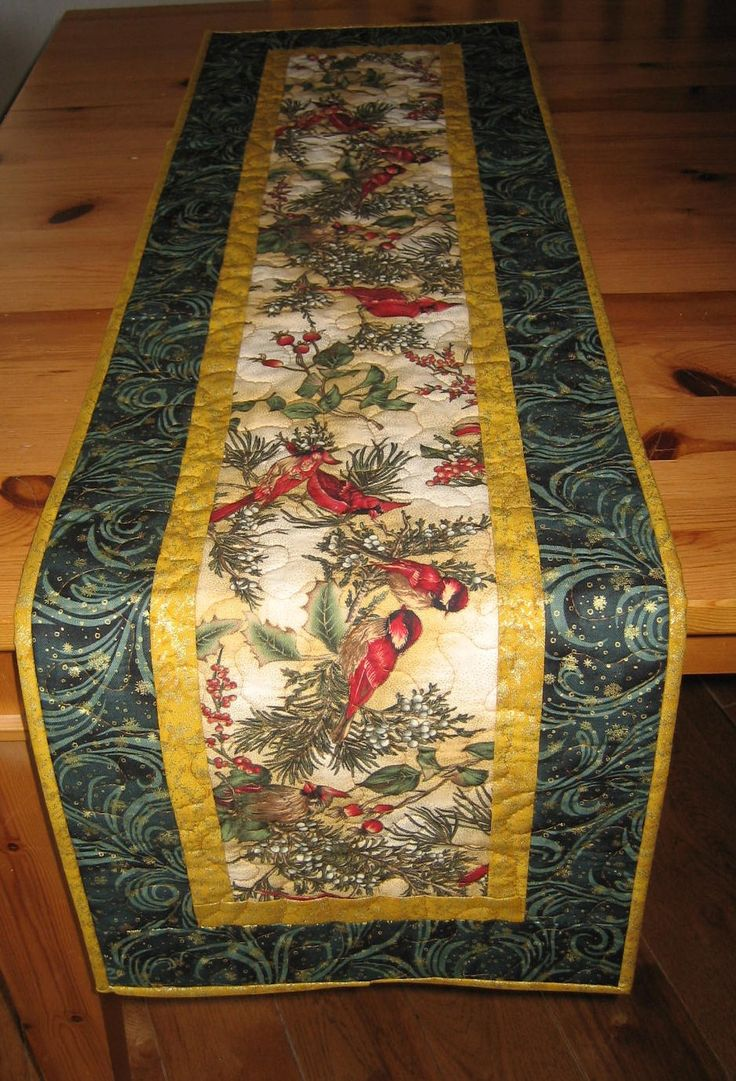 quilted table runner christmas red birds on black