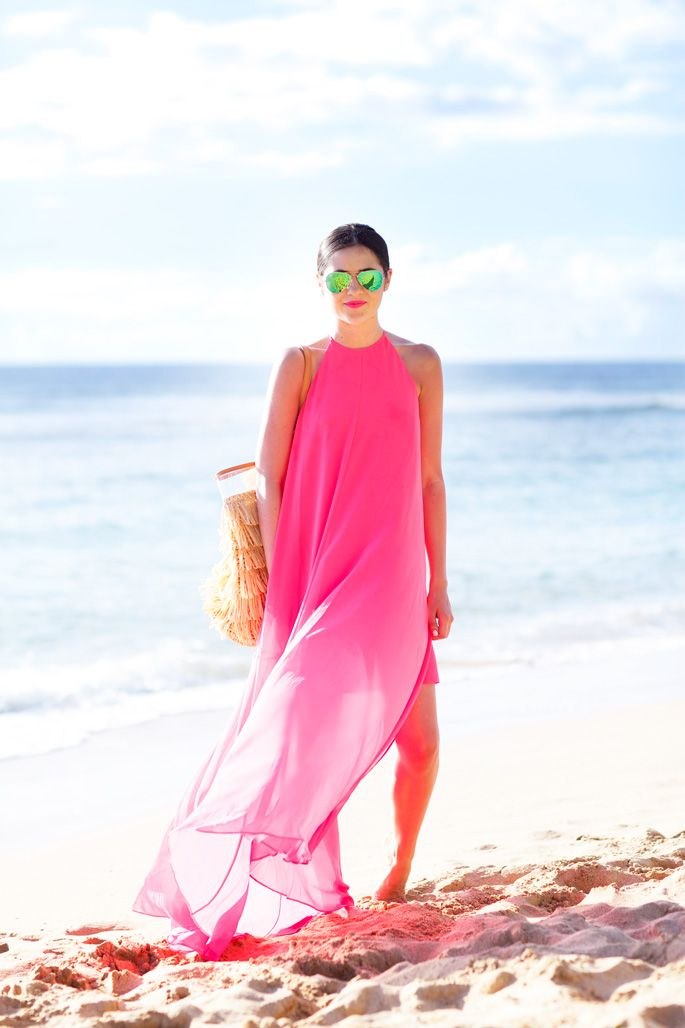 Pink on the beach.