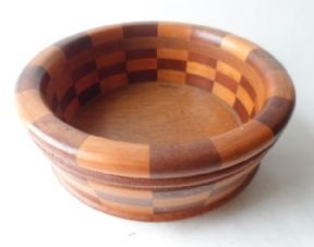 Vintage Wooden Wood Cambridge Ware Nut Bowl Circa 1950s Different Laminated Woods £12