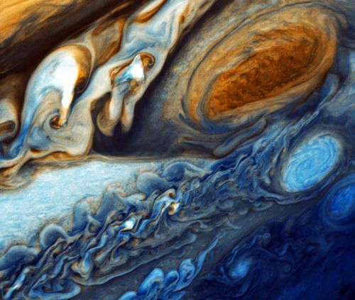 Voyager's pictures of Jupiter's great red spot.  This is such a beautiful picture.