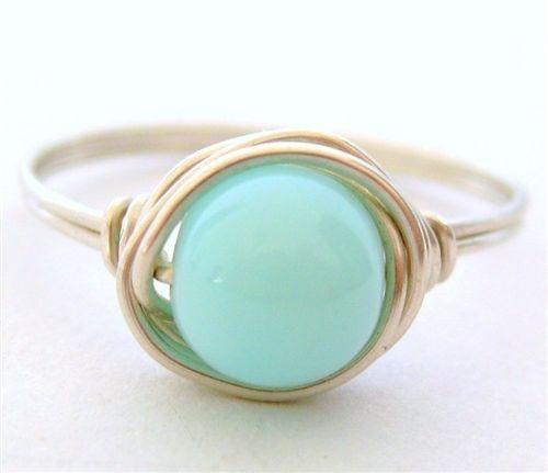 Blue peruvian opal ring