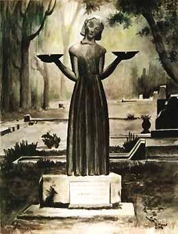 Savannah Georgia Good And Evil Statue Art Print Litho