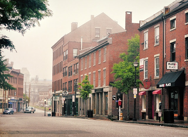 Fore Street in Portland Maine... foggy summer morning. Credit: Corey ...