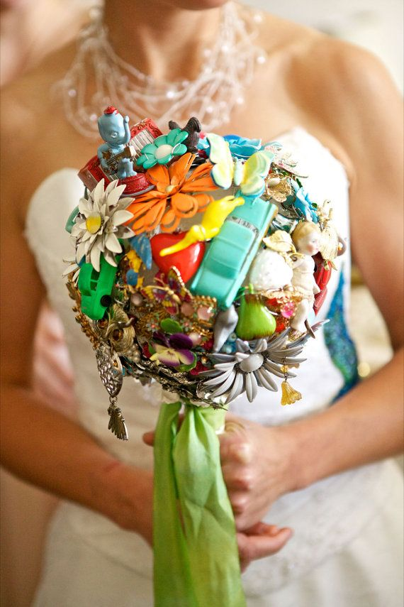 Vintage Jewellery Wedding Bouquets : Vintage toy and jewelry bridal bouquet as featured on
