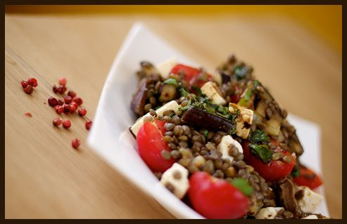Puy lentil, aubergine and feta cheese salad with balsamic vinaigrette.