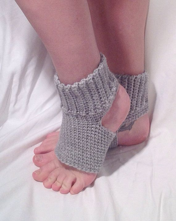 Crochet Yoga Socks : Silver Grey Crochet Yoga Socks by DapperCatDesigns on Etsy, $20.00