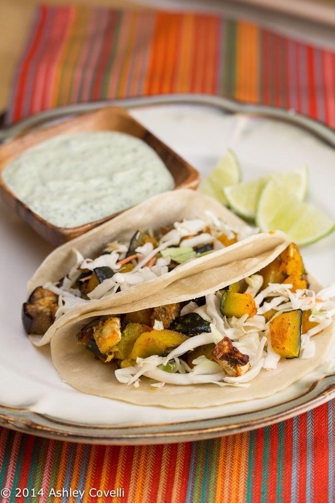 Roasted Kabocha and Eggplant Tacos with Poblano Crema ...