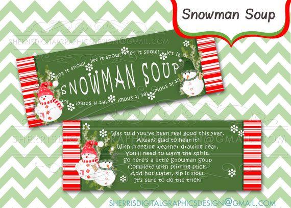 Snowman Soup_treat bag topper_DIY Printable _Instant Download