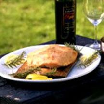 Cedar-Planked Salmon with Blueberry Zinfandel Sauce - Grilling on a ...