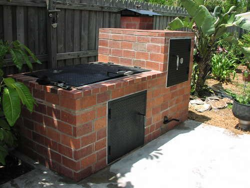 Brick bbq and smoker outdoor grills pinterest for Outdoor kitchen smoker plans