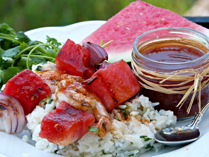 Sriracha Glazed Watermelon and Shrimp Kebabs -- a spicy-sweet recipe ...