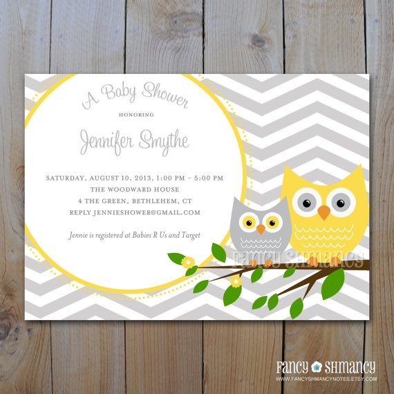baby shower invitation grey and yellow owl with grey chevron prin