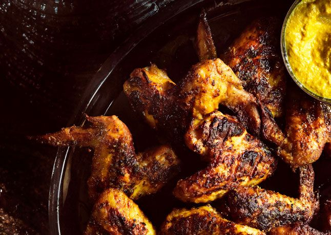 Tumeric and Lemongrass Grilled Chicken Wings. Cooked slow over medium ...