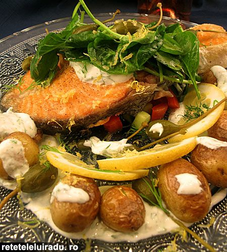 Orange-Roasted Salmon With Yogurt-Caper Sauce Recipe — Dishmaps