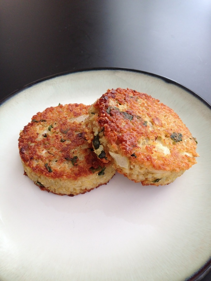 Quinoa Cakes With Basil And Parmesan Recipe — Dishmaps