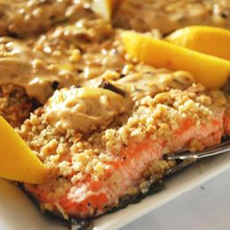 Almond Crusted Salmon Filets with Lemon Leek Sauce