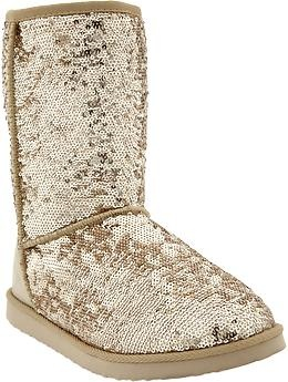 Women s Sequin-Sherpa Boots | Old Navy