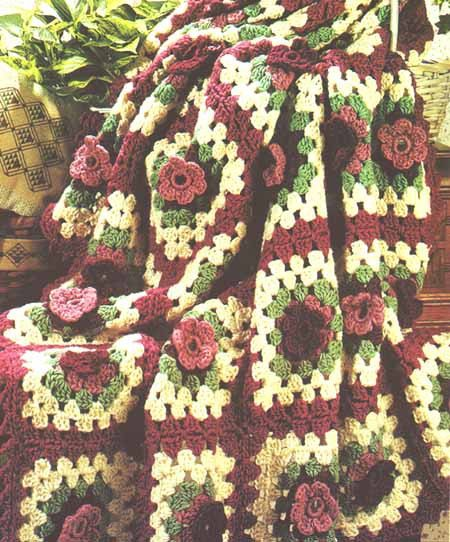 Crochet Rose Afghan Pattern : Granny Squares Rose Afghan Vintage Crochet Pattern