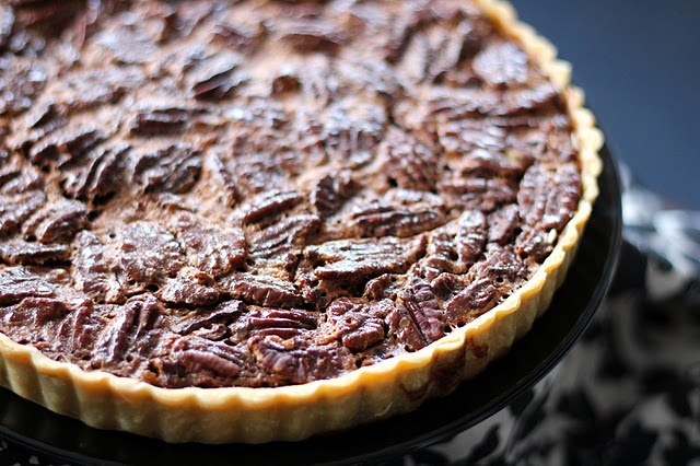 ... , and toasted pecans come together to make this chocolate pecan pie