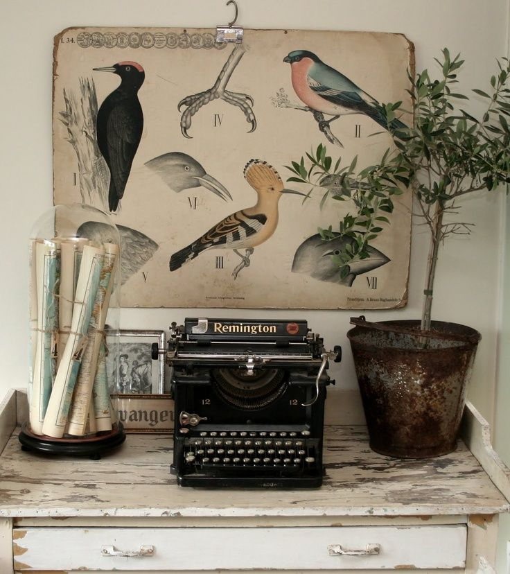 Vintage vignette - typewriter, rolled maps,bird print