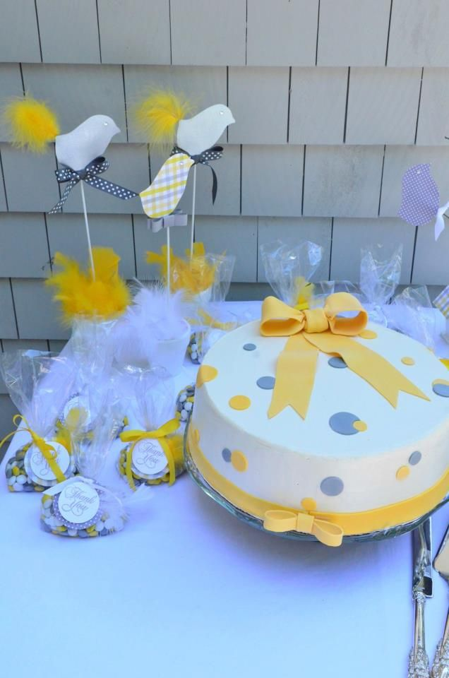 yellow and gray dot baby shower cake baby shower pinterest