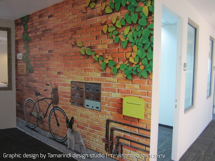 Graphic wall cover for office   Tamarindi design studio - Office wall ...